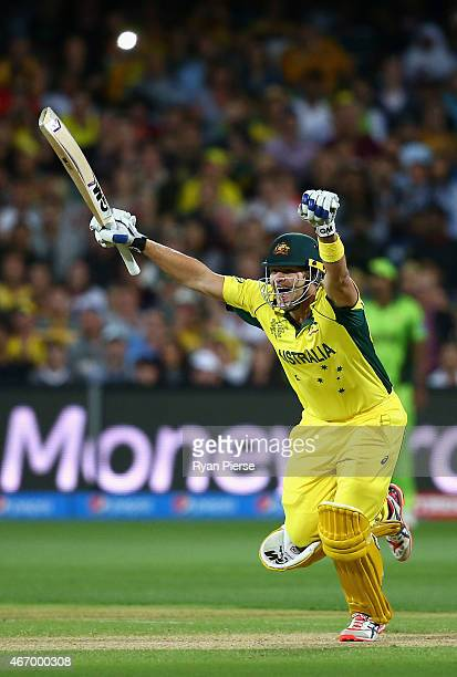 Shane Watson and Glenn Maxwell of Australia celebrates victory during the 2015 ICC Cricket World Cup match between Australian and Pakistan at...