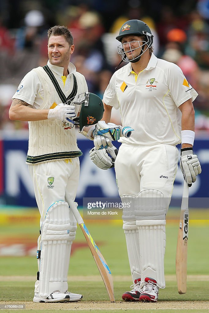 <a gi-track='captionPersonalityLinkClicked' href=/galleries/search?phrase=Shane+Watson+-+Cricket+Player&family=editorial&specificpeople=171874 ng-click='$event.stopPropagation()'>Shane Watson</a> and Michael Clarke of Australia wait for a review decision on Watson's wicket by Dean Elgar of South Africa during day 2 of the third test match between South Africa and Australia at Sahara Park Newlands on March 2, 2014 in Cape Town, South Africa.