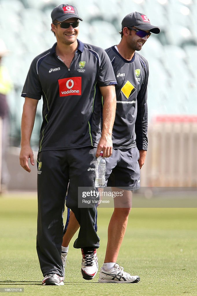 Shane Watson and Nathan Lyon smile during an Australian training session at Adelaide Oval on November 20, 2012 in Adelaide, Australia.