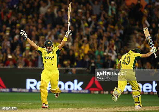 Shane Watson and Steve Smith of Australia celebrates victory during the 2015 ICC Cricket World Cup final match between Australia and New Zealand at...
