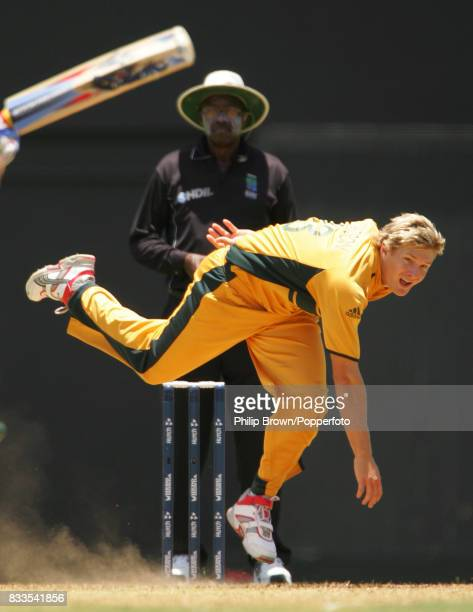 Shane Watson bowling for Australia during the World Cup Semi Final between Australia and South Africa at Beausejour Stadium Gros Islet St Lucia 25th...