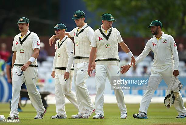 Shane Watson David Warner Mitch Marsh Peter Siddle and Fawad Ahmed of Australia celebrate after bowling out Derbyshire during day three of the Tour...