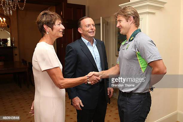 Shane Watson meets with Australian Prime Minister Tony Abbott and his wife Margaret Abbott during the Australian and Indian cricket team visit at...