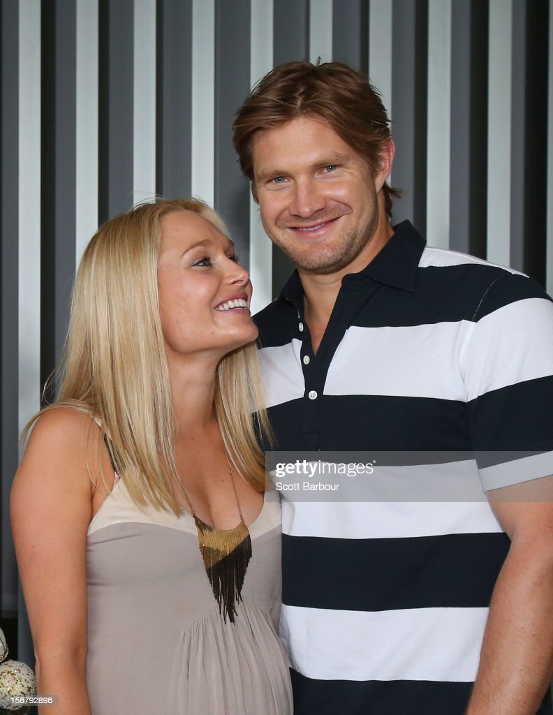 <a gi-track='captionPersonalityLinkClicked' href=/galleries/search?phrase=Shane+Watson+-+Cricket+Player&family=editorial&specificpeople=171874 ng-click='$event.stopPropagation()'>Shane Watson</a> of Australia and his pregnant wife <a gi-track='captionPersonalityLinkClicked' href=/galleries/search?phrase=Lee+Furlong&family=editorial&specificpeople=579330 ng-click='$event.stopPropagation()'>Lee Furlong</a> pose ahead of a Cricket Australia Christmas Day lunch at Crown Entertainment Complex on December 25, 2012 in Melbourne, Australia.