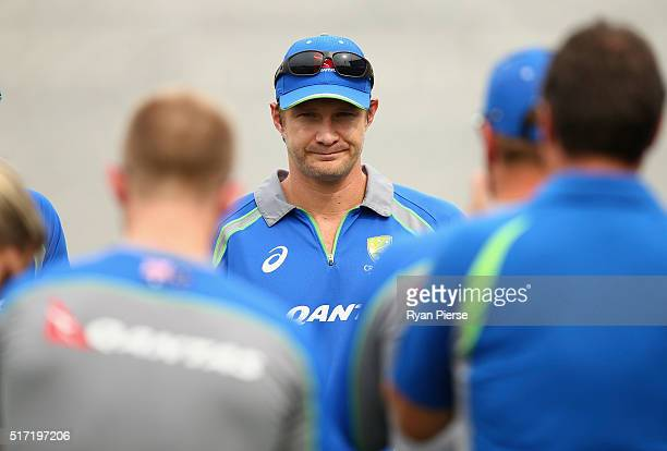 Shane Watson of Australia announces to team mates that he will retirement from all forms of International Cricket and the end of the WT20 in India...