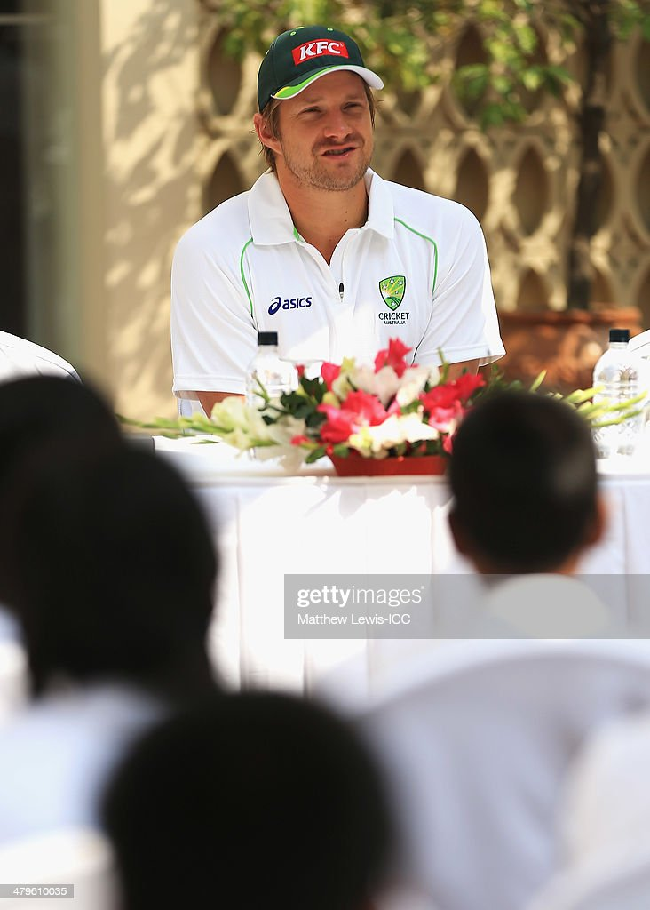<a gi-track='captionPersonalityLinkClicked' href=/galleries/search?phrase=Shane+Watson+-+Cricket+Player&family=editorial&specificpeople=171874 ng-click='$event.stopPropagation()'>Shane Watson</a> of Australia answers questions to local school children during an ICC CSR event at the Ruposhi Bangla Hotel on March 20, 2014 in Dhaka, Bangladesh.