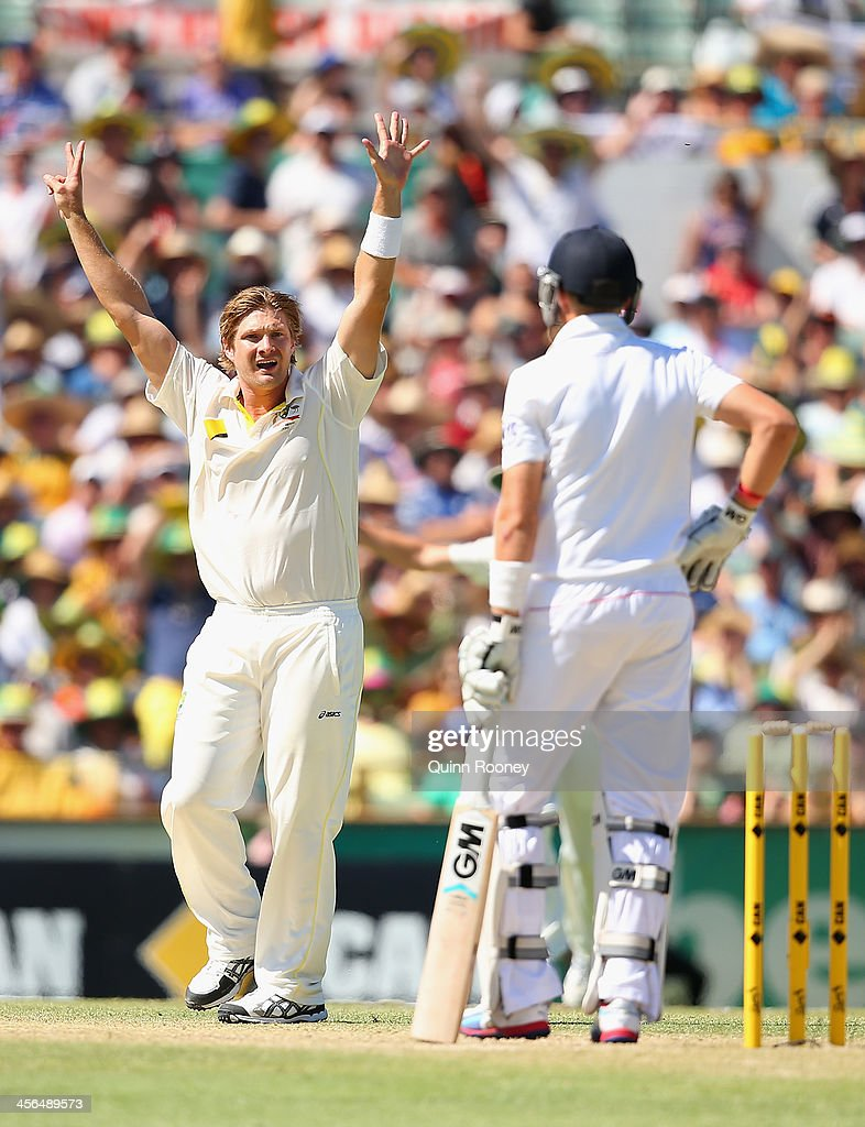 Shane Watson of Australia appeals for the wicket of Joe Root of England during day two of the Third Ashes Test Match between Australia and England at WACA on December 14, 2013 in Perth, Australia.
