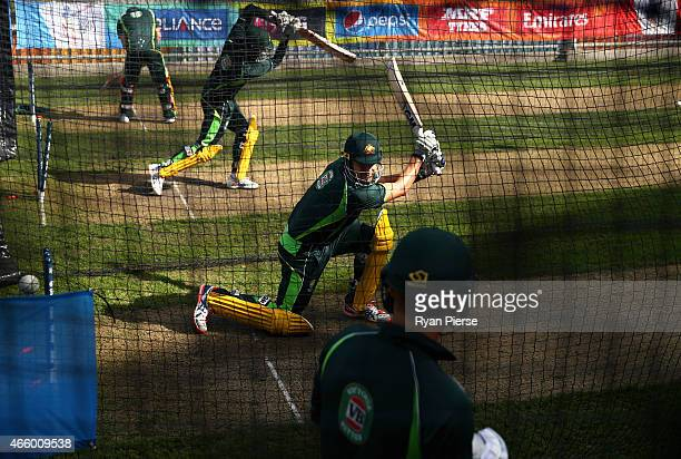 Shane Watson of Australia bats during an Australia nets session at Bellerive Oval on March 13 2015 in Hobart Australia