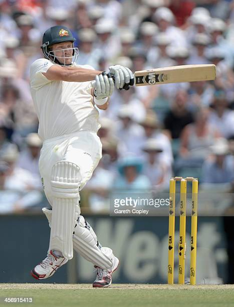 Shane Watson of Australia bats during day four of the Third Ashes Test Match between Australia and England at WACA on December 16 2013 in Perth...