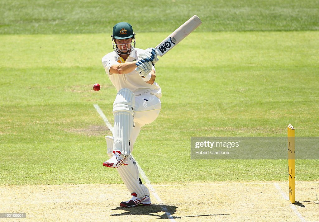 Shane Watson of Australia bats during day one of the First Test match between Australia and India at Adelaide Oval on December 9 2014 in Adelaide...