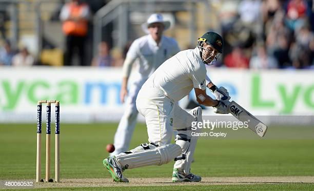 Shane Watson of Australia bats during day two of the 1st Investec Ashes Test match between England and Australia at SWALEC Stadium on July 9 2015 in...