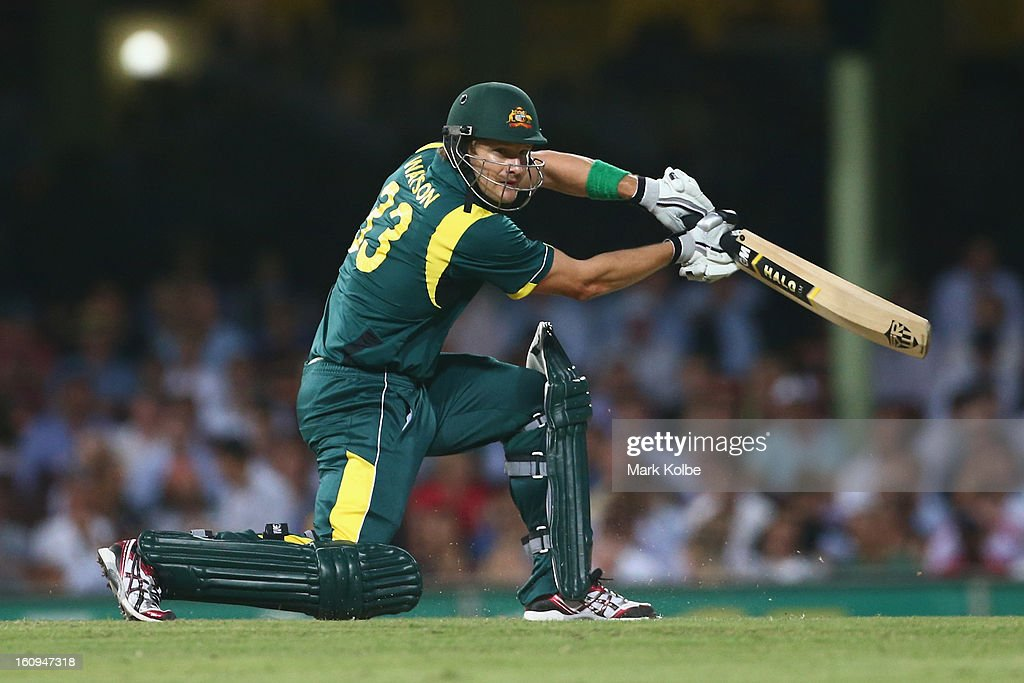 Shane Watson of Australia bats during game four of the Commonwealth Bank One Day International Series between Australia and the West Indies at Sydney Cricket Ground on February 8, 2013 in Sydney, Australia.