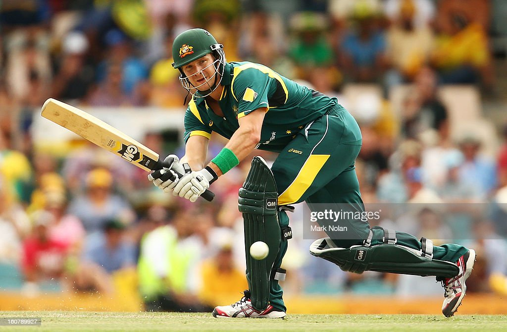 Shane Watson of Australia bats during the Commonwealth Bank One Day International Series between Australia and the West Indies at Manuka Oval on February 6, 2013 in Canberra, Australia.
