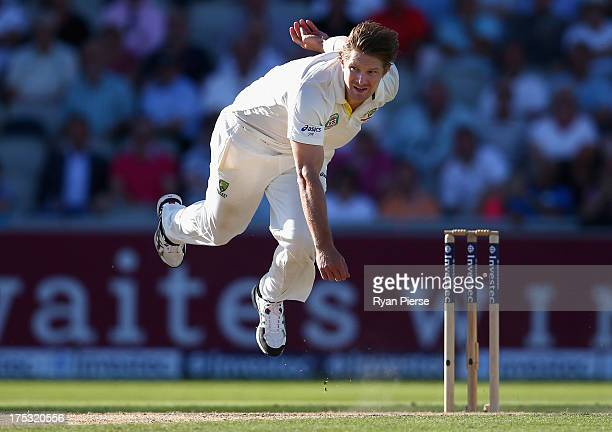 Shane Watson of Australia bowls during day two of the 3rd Investec Ashes Test match between England and Australia at Emirates Old Trafford Cricket...