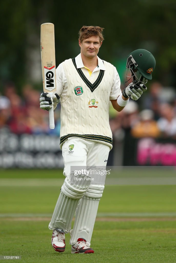 <a gi-track='captionPersonalityLinkClicked' href=/galleries/search?phrase=Shane+Watson+-+Cricket+Player&family=editorial&specificpeople=171874 ng-click='$event.stopPropagation()'>Shane Watson</a> of Australia celebrates after reaching his century during day one of the Tour Match between Worcestershire and Australia at New Road on July 2, 2013 in Worcester, England.