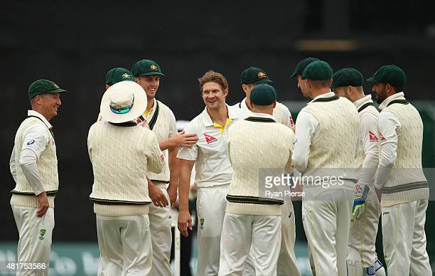 Shane Watson of Australia celebrates after taking the wicket of Ben Slater of Derbyshire during day two of the Tour Match between Derbyshire and...