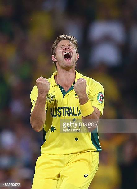 Shane Watson of Australia celebrates after taking the wicket of Angelo Mathews of Sri Lanka during the 2015 ICC Cricket World Cup match between...