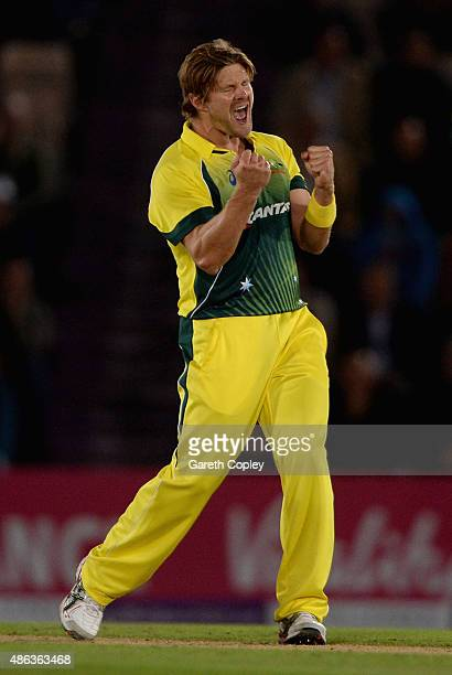 Shane Watson of Australia celebrates dismissing England captain Eoin Morgan during the 1st Royal London OneDay International match between England...