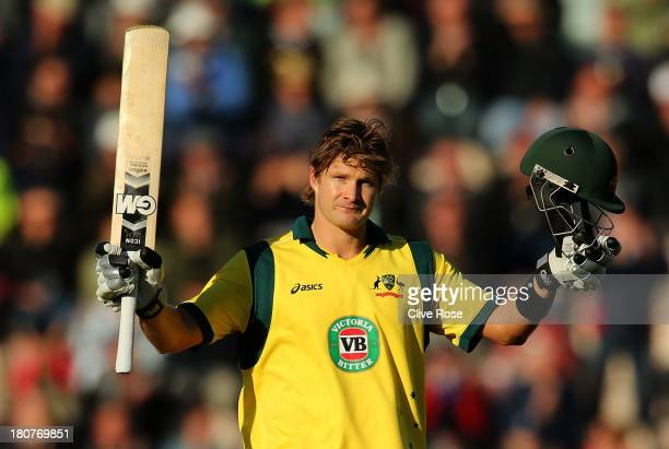 Shane Watson of Australia celebrates his century during the 5th NatWest Series one day international at the Ageas Bowl on September 16 2013 in...