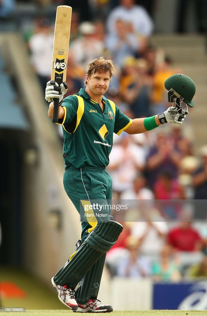 <a gi-track='captionPersonalityLinkClicked' href=/galleries/search?phrase=Shane+Watson+-+Cricket+Player&family=editorial&specificpeople=171874 ng-click='$event.stopPropagation()'>Shane Watson</a> of Australia celebrates his century during the Commonwealth Bank One Day International Series between Australia and the West Indies at Manuka Oval on February 6, 2013 in Canberra, Australia.