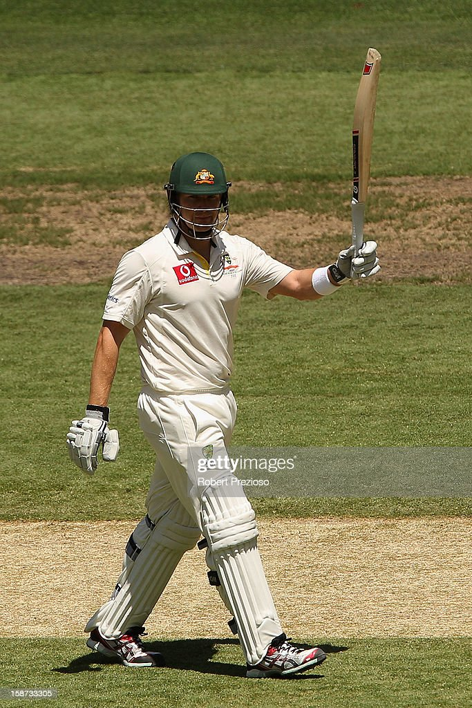 Shane Watson of Australia celebrates his half century during day two of the Second Test match between Australia and Sri Lanka at Melbourne Cricket Ground on December 27, 2012 in Melbourne, Australia.