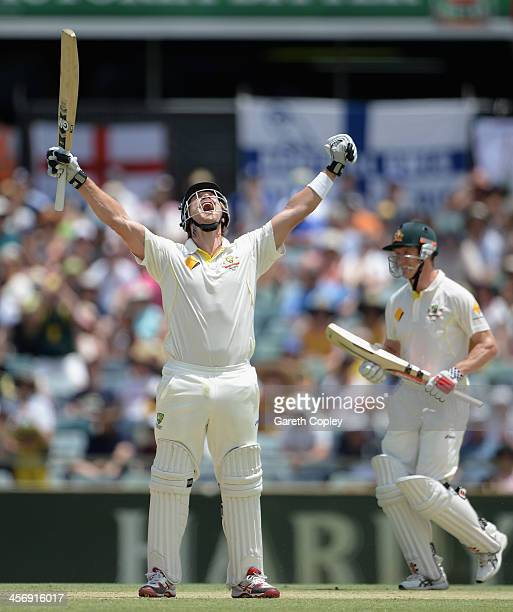 Shane Watson of Australia celebrates reaching his century during day four of the Third Ashes Test Match between Australia and England at WACA on...