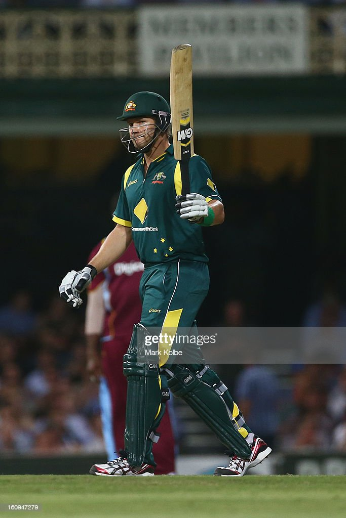 Shane Watson of Australia celebrates scoring his half century during game four of the Commonwealth Bank One Day International Series between Australia and the West Indies at Sydney Cricket Ground on February 8, 2013 in Sydney, Australia.