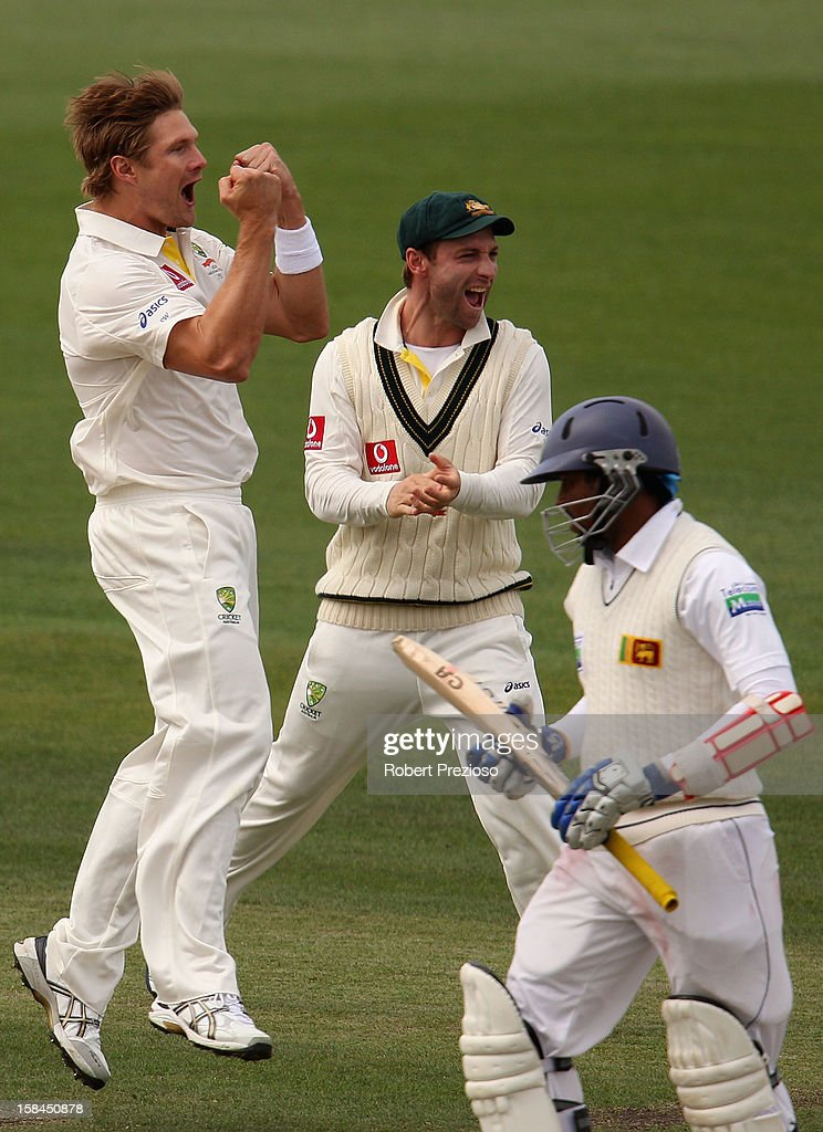 <a gi-track='captionPersonalityLinkClicked' href=/galleries/search?phrase=Shane+Watson+-+Cricket+Player&family=editorial&specificpeople=171874 ng-click='$event.stopPropagation()'>Shane Watson</a> of Australia celebrates the wicket of Tillakaratne Dilshan of Sri Lanka during day four of the First Test match between Australia and Sri Lanka at Blundstone Arena on December 17, 2012 in Hobart, Australia.