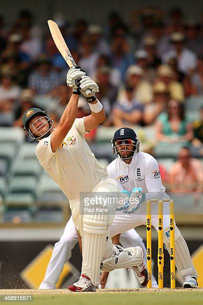 Shane Watson of Australia hits a six during day four of the Third Ashes Test Match between Australia and England at the WACA on December 16 2013 in...