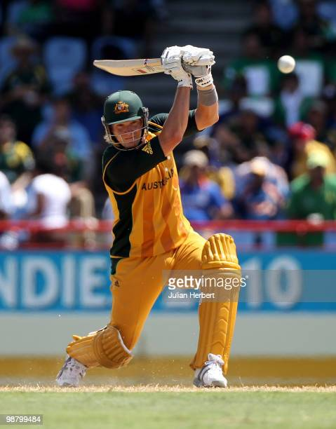 Shane Watson of Australia hits out during The ICC World Twenty20 Group A match between Pakistan and Australia played at The Beausejour Cricket Ground...