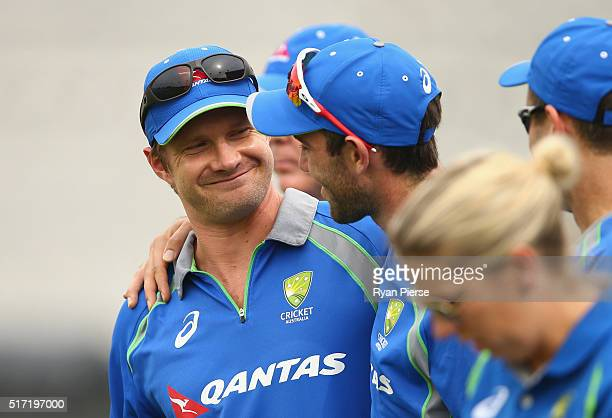 Shane Watson of Australia is congratulated by Glenn Maxwell of Australia after Watson announced his retirement from all forms of International...