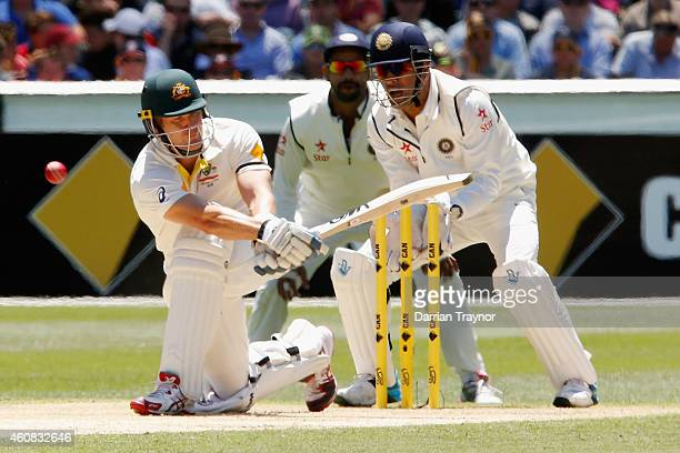 Shane Watson of Australia is given out lbw to Ravichandran Ashwin of India during day one of the Third Test match between Australia and India at...