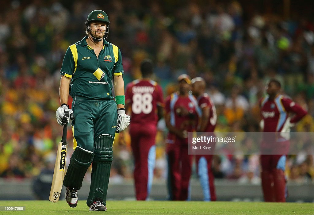 <a gi-track='captionPersonalityLinkClicked' href=/galleries/search?phrase=Shane+Watson+-+Cricket+Player&family=editorial&specificpeople=171874 ng-click='$event.stopPropagation()'>Shane Watson</a> of Australia looks dejected after being dismissed by Tino Best of West Indies during game four of the Commonwealth Bank One Day International Series between Australia and the West Indies at Sydney Cricket Ground on February 8, 2013 in Sydney, Australia.