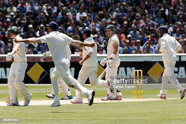 Shane Watson of Australia looks on after being dive out lbw to Ravichandran Ashwin of India during day one of the Third Test match between Australia...