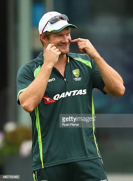 Shane Watson of Australia looks on during a nets session ahead of the 2nd Investec Ashes Test match between England and Australia at Lord's Cricket...