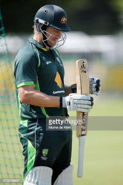Shane Watson of Australia looks on during a nets session at St Georges Park Cricket stadium on February 18 2014 in Port Elizabeth South Africa