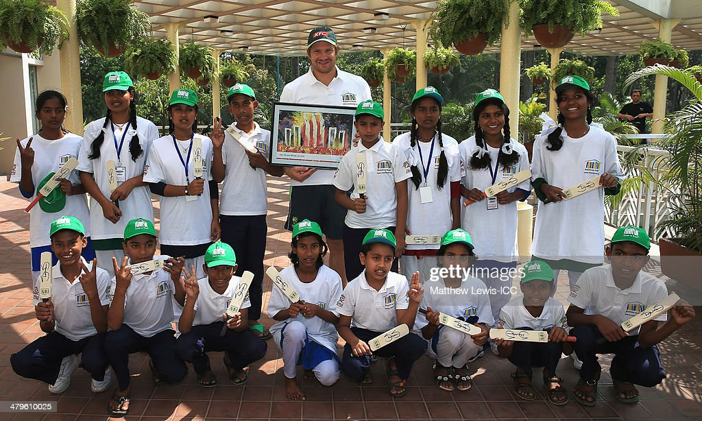 <a gi-track='captionPersonalityLinkClicked' href=/galleries/search?phrase=Shane+Watson+-+Cricket+Player&family=editorial&specificpeople=171874 ng-click='$event.stopPropagation()'>Shane Watson</a> of Australia pictured with local school children during an ICC CSR event at the Ruposhi Bangla Hotel on March 20, 2014 in Dhaka, Bangladesh.