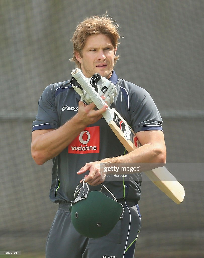 <a gi-track='captionPersonalityLinkClicked' href=/galleries/search?phrase=Shane+Watson+-+Cricket+Player&family=editorial&specificpeople=171874 ng-click='$event.stopPropagation()'>Shane Watson</a> of Australia prepares to bat during an Australian nets session at the Melbourne Cricket Ground on December 25, 2012 in Melbourne, Australia.