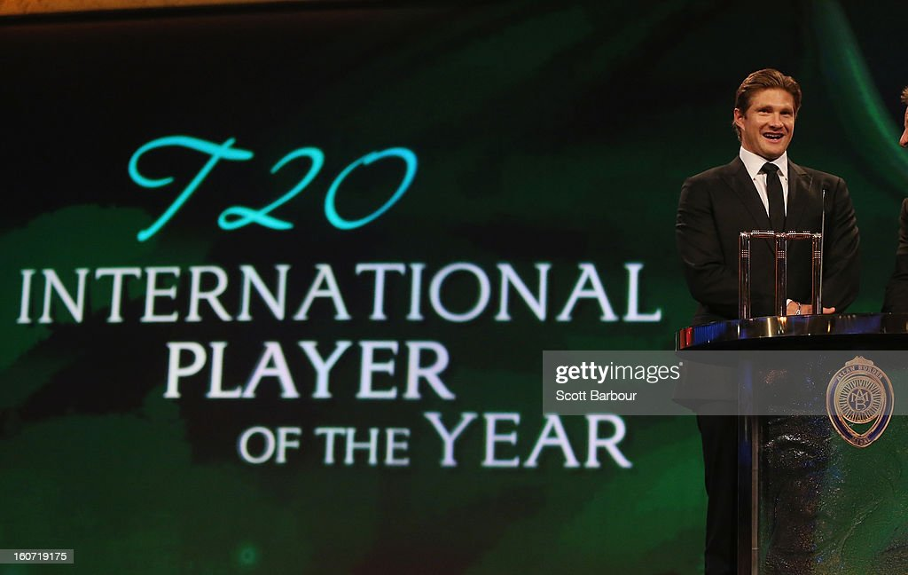 Shane Watson of Australia speaks after being named the Twenty20 International Player of the Year during the 2013 Allan Border Medal awards ceremony at Crown Palladium on February 4, 2013 in Melbourne, Australia.