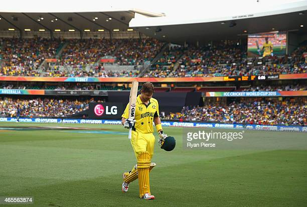 Shane Watson of Australia walks from the ground after being dismissed for 67 runs during the 2015 ICC Cricket World Cup match between Australia and...