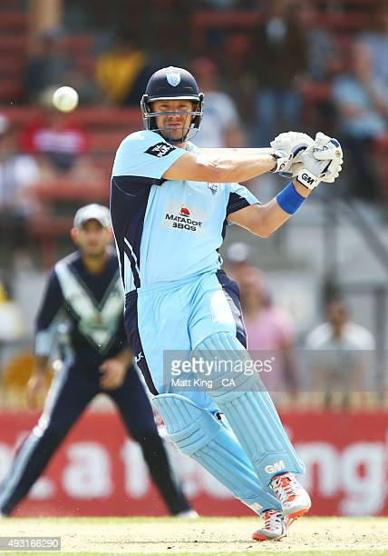 Shane Watson of the Blues bats during the Matador BBQs One Day Cup match between New South Wales and Victoria at North Sydney Oval on October 18 2015...