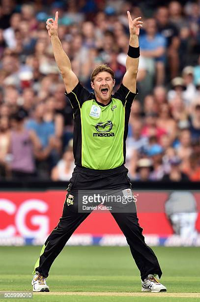 Shane Watson of the Sydney Thunder reacts after taking the wicket of Mahela Jayawardena of the Strikers during the Big Bash League Semi Final match...