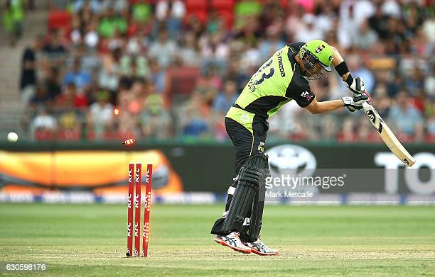 Shane Watson of the Thunder is bowled by Mark Steketee of the Heat during the Big Bash League match between the Sydney Thunder and Brisbane Heat at...