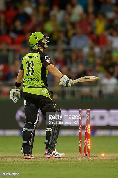 Shane Watson of the Thunder is bowled out by Andrew Tye of the Scorchers during the Big Bash League match between the Sydney Thunder and the Perth...