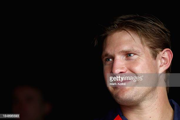 Shane Watson poses after the announcement of the Australian test cricket team to play South Africa at the Sydney Cricket Ground on October 29 2012 in...
