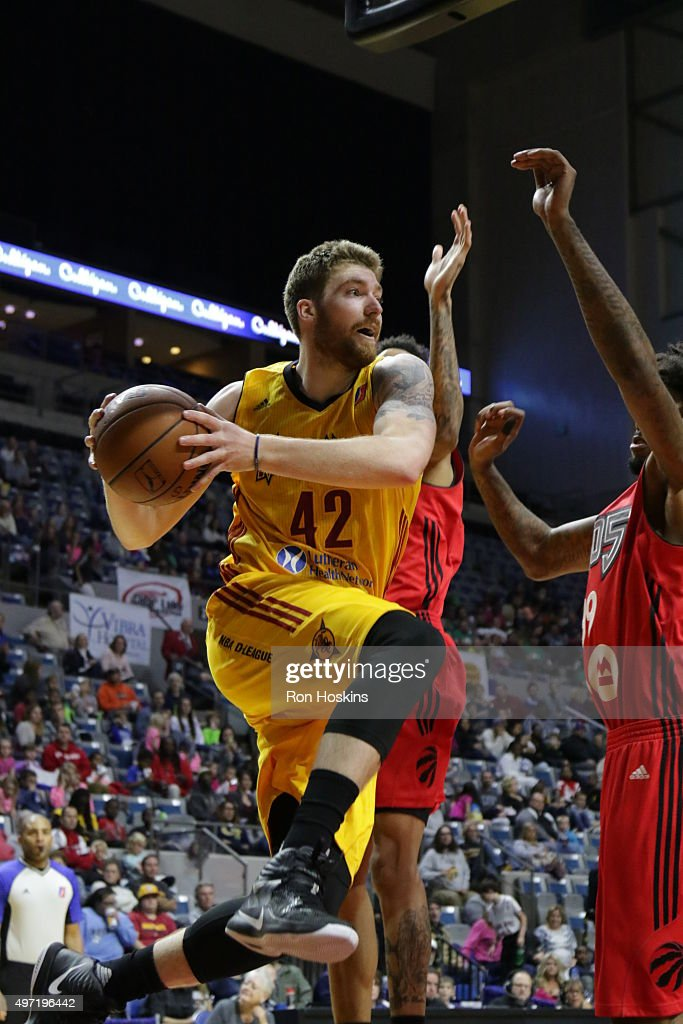 Shane Whittington #42 of the Fort Wayne Mad Ants battles a Raptors 905 defender during their NBDL game at Memorial Coliseum November 14, 2015 in Fort Wayne, Indiana.