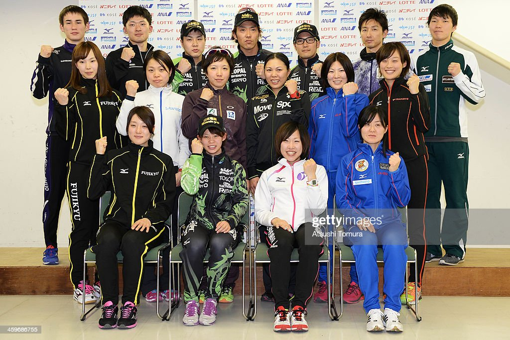 Shane Williamson, Daichi Yamanaka, <a gi-track='captionPersonalityLinkClicked' href=/galleries/search?phrase=Yuji+Kamijo&family=editorial&specificpeople=8696964 ng-click='$event.stopPropagation()'>Yuji Kamijo</a>, <a gi-track='captionPersonalityLinkClicked' href=/galleries/search?phrase=Keiichiro+Nagashima&family=editorial&specificpeople=818808 ng-click='$event.stopPropagation()'>Keiichiro Nagashima</a>, <a gi-track='captionPersonalityLinkClicked' href=/galleries/search?phrase=Joji+Kato&family=editorial&specificpeople=818932 ng-click='$event.stopPropagation()'>Joji Kato</a>, <a gi-track='captionPersonalityLinkClicked' href=/galleries/search?phrase=Yuya+Oikawa&family=editorial&specificpeople=819011 ng-click='$event.stopPropagation()'>Yuya Oikawa</a>, Taro Kondo, (Middle L to R) Misaki Oshigiri, Miyako Sumiyoshi, <a gi-track='captionPersonalityLinkClicked' href=/galleries/search?phrase=Nao+Kodaira&family=editorial&specificpeople=4067396 ng-click='$event.stopPropagation()'>Nao Kodaira</a>, <a gi-track='captionPersonalityLinkClicked' href=/galleries/search?phrase=Maki+Tsuji&family=editorial&specificpeople=7362026 ng-click='$event.stopPropagation()'>Maki Tsuji</a>, <a gi-track='captionPersonalityLinkClicked' href=/galleries/search?phrase=Masako+Hozumi&family=editorial&specificpeople=4037957 ng-click='$event.stopPropagation()'>Masako Hozumi</a>, <a gi-track='captionPersonalityLinkClicked' href=/galleries/search?phrase=Shiho+Ishizawa&family=editorial&specificpeople=6493107 ng-click='$event.stopPropagation()'>Shiho Ishizawa</a>, (Bottom L to R) Ayaka Kikuchi, Nana Takagi, Shoko Fujimura, <a gi-track='captionPersonalityLinkClicked' href=/galleries/search?phrase=Maki+Tabata&family=editorial&specificpeople=227374 ng-click='$event.stopPropagation()'>Maki Tabata</a> of Japan pose for photo session after they been have selected as Japanese representitives for the 2014 Winter Olympic games in Sochi after the Japan Speed Skating Olympic Qualifying Championships at M Wave on Decembe