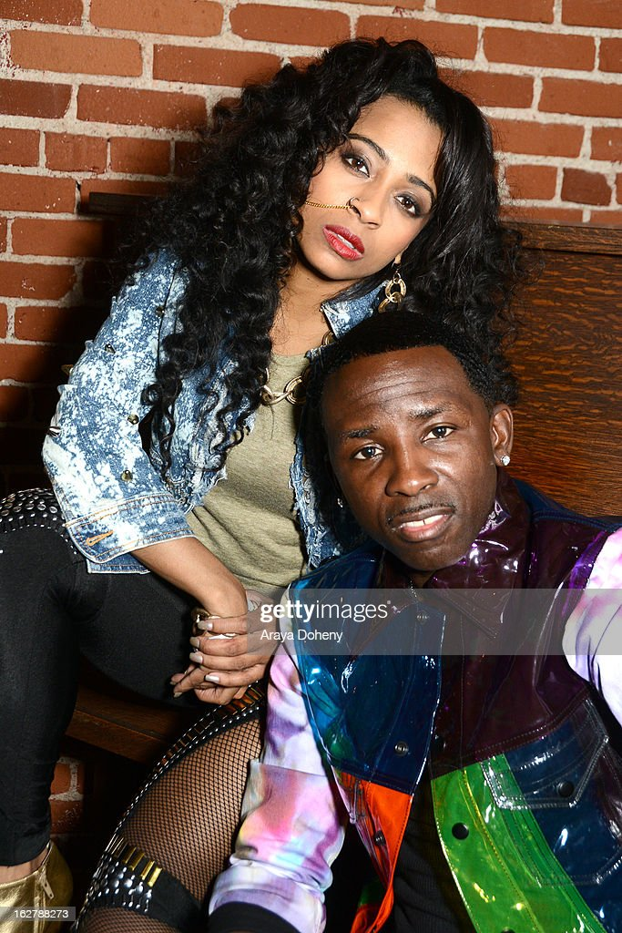 Shanell and Tah Mac pose backstage at the Gibson Guitar and TahMc Entertainment presents 'The Love, Life And Reality Show' at Federal Bar on February 26, 2013 in Hollywood, California.