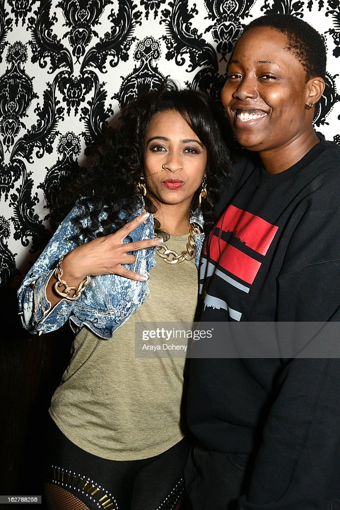Shanell and Tish Hyman pose backstage at the Gibson Guitar and TahMc Entertainment presents 'The Love, Life And Reality Show' at Federal Bar on February 26, 2013 in Hollywood, California.