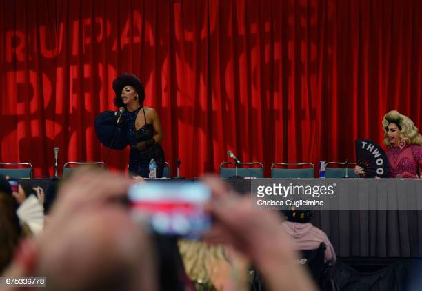 Shangela and Alyssa Edwards onstage during the 3rd Annual RuPaul's DragCon day 2 at Los Angeles Convention Center on April 30 2017 in Los Angeles...